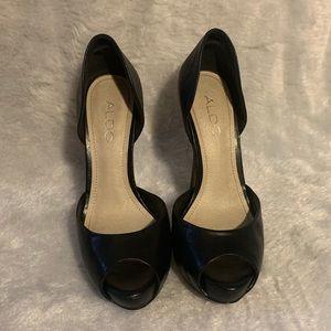 Aldo black peep toe heels